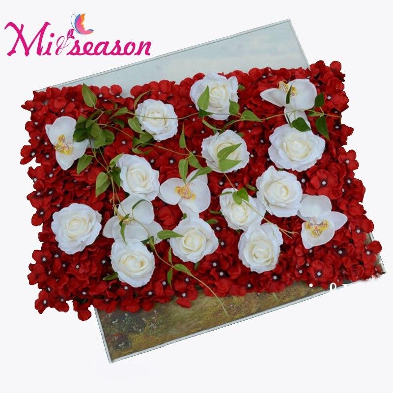 40*60 cm fleur artificielle tapis hortensia Rose Phalaenopsis bricolage route Led fleur fond fleur décoration pour mariage maison