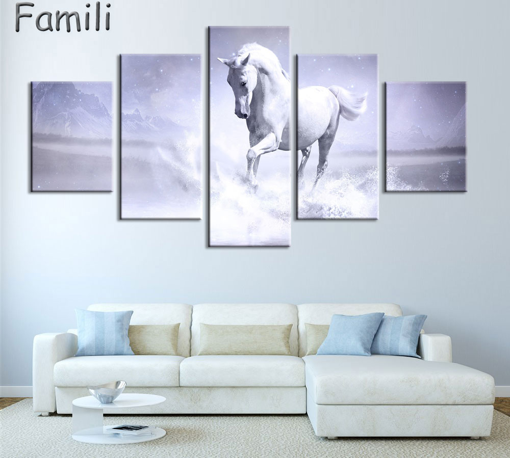 5Pcs/Set Sunset Horse Canvas Painting Animal Poster Vintage Grassland Wall Christmas Canvas Pictures For Home Decor Cheap Wall A