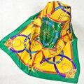 2015 Verde de Satén de Seda Pura Bufanda Impresa Mujeres de La Venta Caliente Patrón de la cadena de 100% Pañuelos de Seda de la Moda Femenina de Seda Pequeña Plaza bufanda