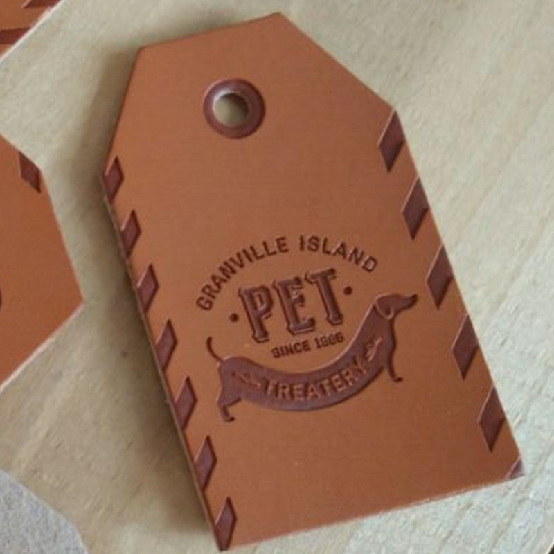 Buy custom shop name artwork pu leather for Custom t shirts with custom tags