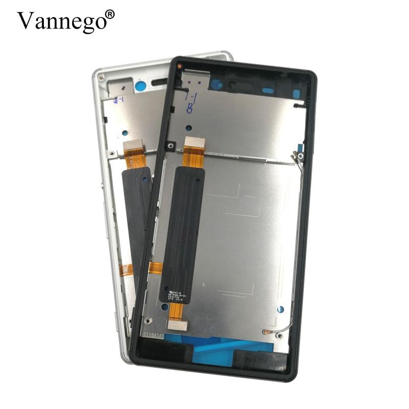 Moyen Avant Cadre Pour Sony Xperia M4 Aqua E2303 E2333 E2353 plaque Lunette Logement LCD Cadre cove Avec Boutons Latéraux Volume Ruban