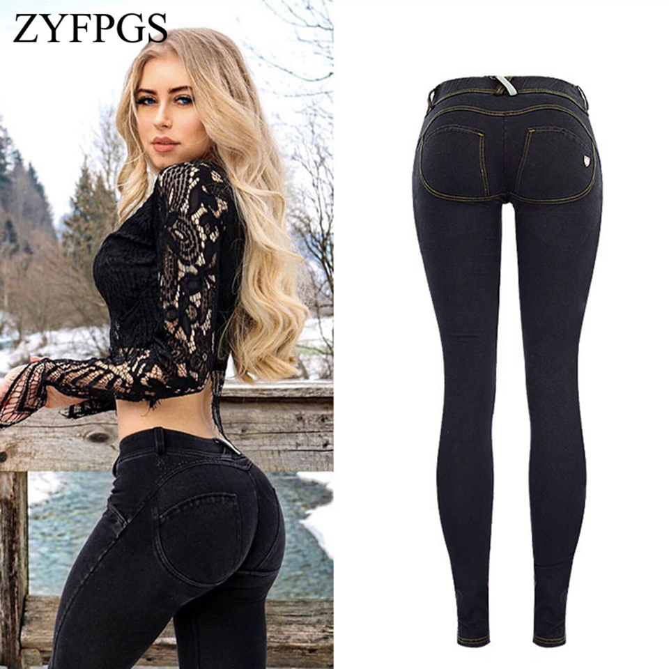 ZYFPGS Spring 2019 Elasticity Women's Jeans Black Retro Casual Women Jeans Slim Fit Fashion Solid Sexy Sales Leader 2xl Z1218