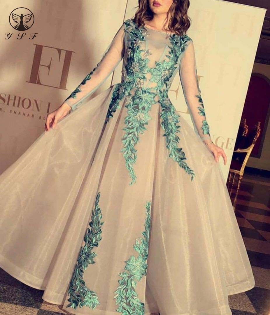 Simple but Elegant O Neck Appliqued Lace Pleated Floor Length Long Sleeve Prom Dresses 2020