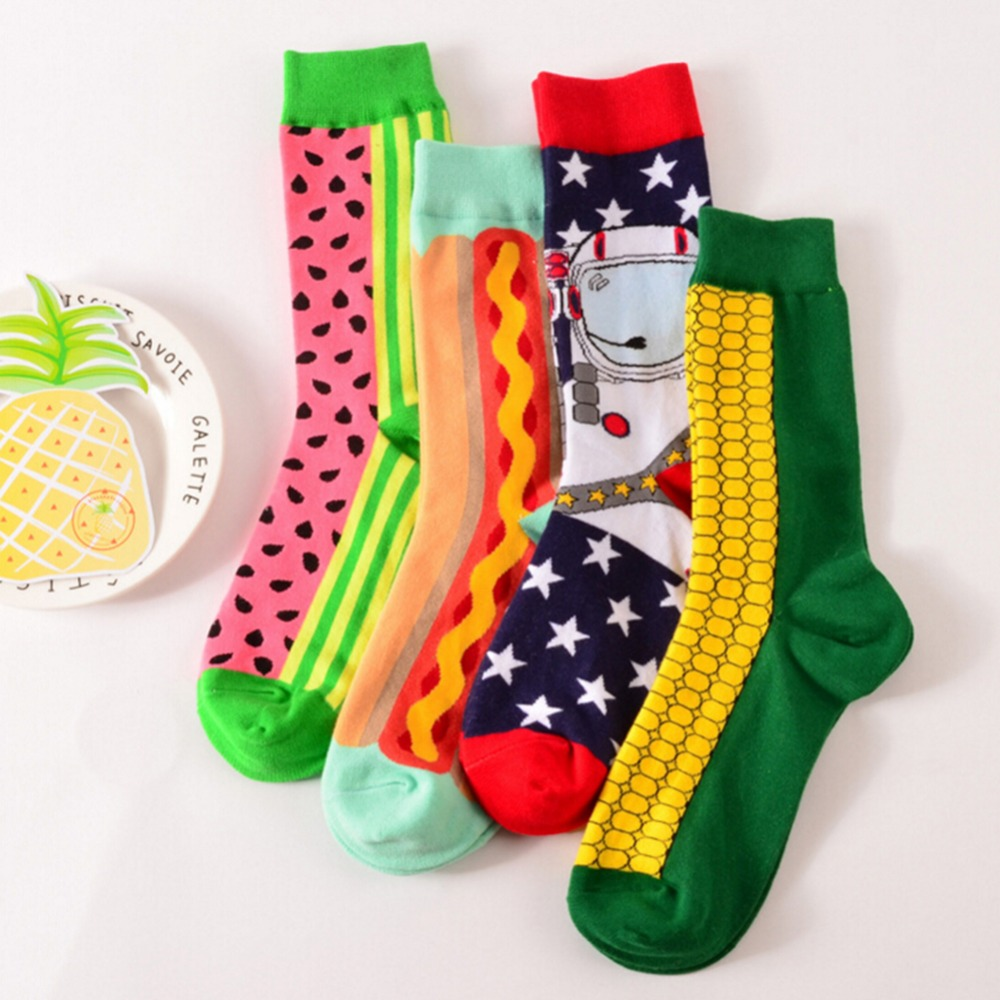 1 Pair men Socks cotton casual socks in tube novelty harajuku designer fashion street watermelon skateboard Crew socks