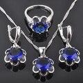 Simple Azul de Piedra de Las Mujeres 925 Pendientes de Plata de La Joyería/Colgante/Collar/Anillos Envío Gratis QZ027