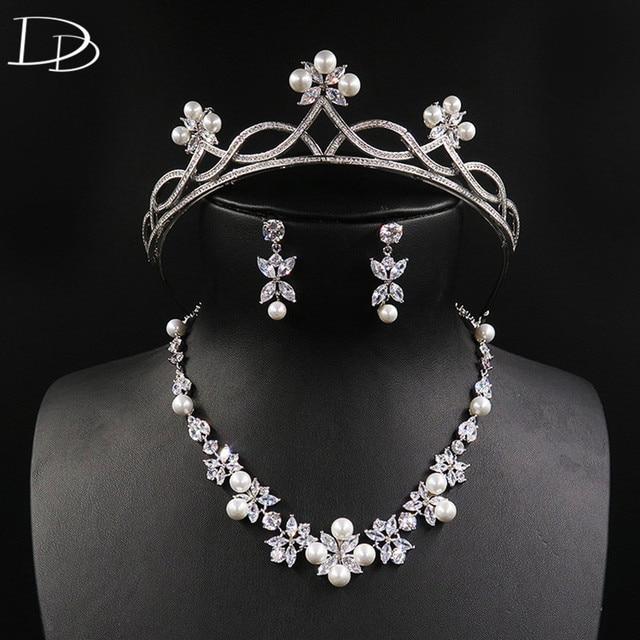 DODO Wedding Jewelry Set AAA Zircon Imitation Pearls Tiara