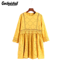 Geckoistail Women Vintage Loose Mini Dress Vestido O Neck Pockets Yellow Half Sleeve 2018 Summer Female