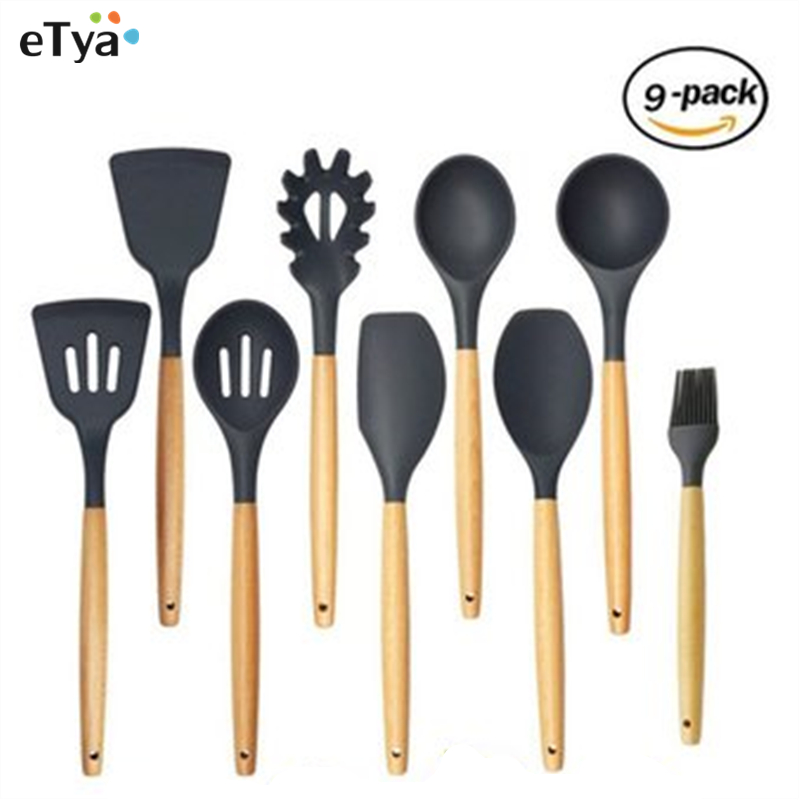 9 Pieces Super Sturdy Cooking Utensils Set & Non Stick Silicone Spoon Spatula Pasta Server Strainer Tongs Tips For Pots and Pans