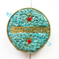Min Order 10 3pcs Lot Nepal Tibetan Type Manual Antique Bead Flat Round Brass Embed