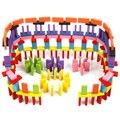 120 unids bloques de dominó de madera set for kids play toy educación bloques de construcción de inteligencia y apilado-colorido