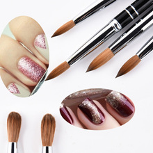 1pcs High Quality Sable Hair Nail Brush Kolinsky UV Gel Acrylic Manicure Nail Art Tools Metal Handle 8# 10# 12# 14# 16 eval 8 sable paint brush nail tool acrylic nail brush kolinsky uv gel acrylic nail art tool