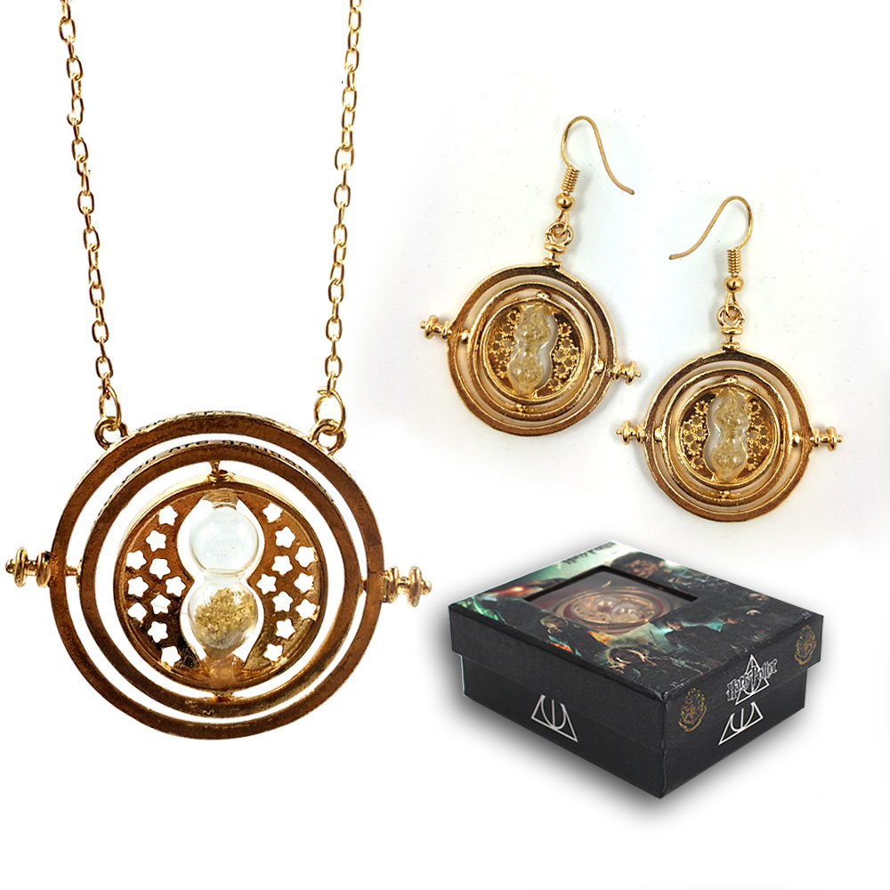 ohcomics Hot Harri Potter HP Harry Golden Cool Hourglass Metal Necklace+Earrings+Box Ornament Costume Accessories Pendants Decor