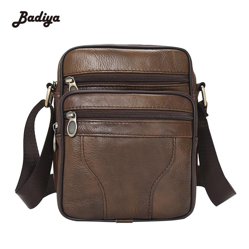 Genuine Leather Mens Bags Male Crossbody Bags Small Flap Casual Business Messenger Bag Mens Shoulder Bag