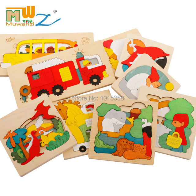Free shipping kids/children educational wooden toys multilayer cartoon 3D animal puzzle baby gift one piece /Jurassic/Fire Truck