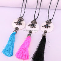 3Pcs Fashion Black Hematite Beaded Handmade Paved CZ Insect Bees Charms Shell And Silk Tassel Pendant