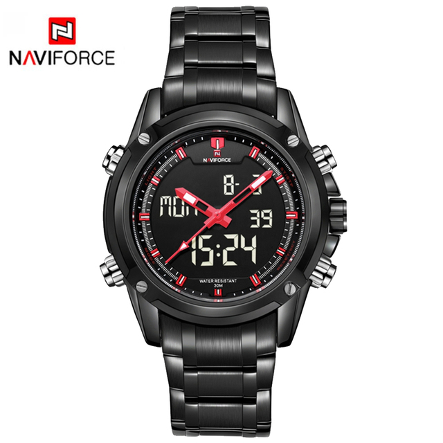 Luxury Watch Men Style Stainless Steel Band Watch Sport Waterproof NAVIFORCE Fashion Military Digital LED Quartz Wristwatch LX22