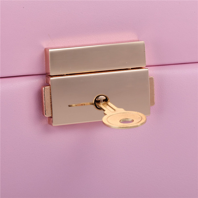 Pink Large Jewelry Box Velvet Organizer Gift Girls Women Necklace Rings Earrings Display Storage Case Mirror