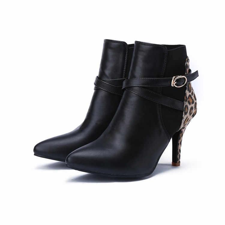 MLJUESE 2018 kadın yarım çizmeler sonbahar bahar sivri burun leopar renk çapraz kravat başak topuklu yarım çizmeler kadın boyutu 32- 43