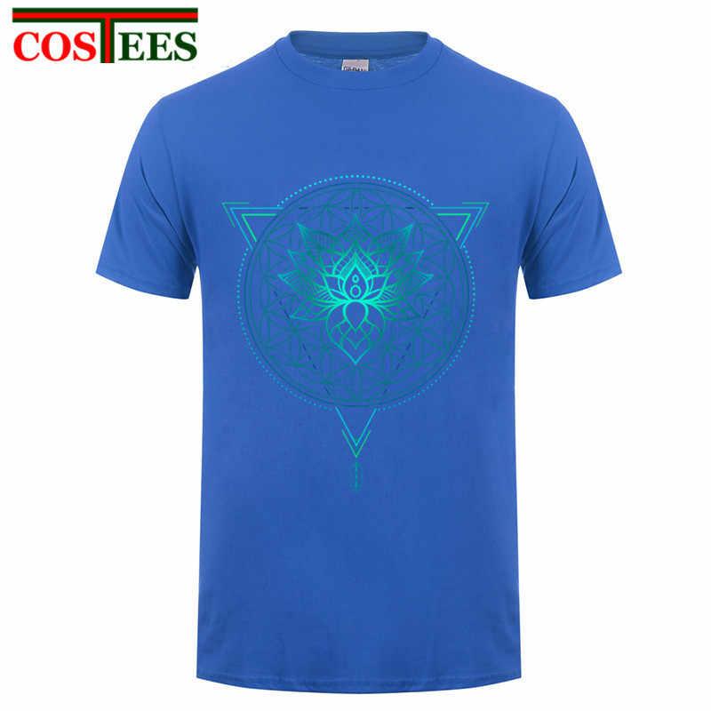 Lotus Blume des Lebens Mandala in Geometrische Dreieck Sommer T shirt Männer 2017 Luxus Marke T-Shirt mode t-shirt hipster Tops tees