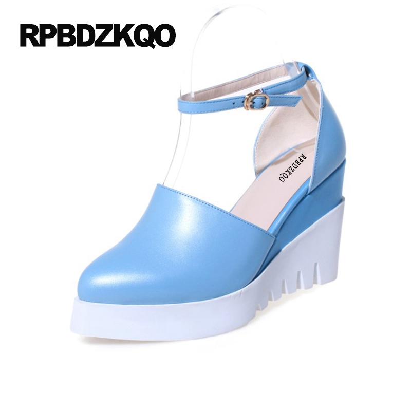 Platform Wedge Shoes 4 34 Small Size Creepers Blue Pointed Toe High Heels Women 2017 Pumps Korean Sweet Ankle Strap Sweet Cute big size high heels round toe women platform shoes cool casual white lace wedge black creepers medium pumps mesh chinese fashion