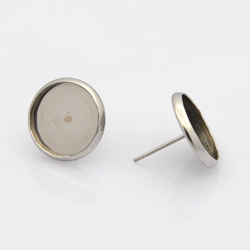 20pcs Tray: 10mm 304 Stainless Steel Flat Round Ear Stud Components, Stainless Steel Color, about 12mm in dameter, Pin: 1mm
