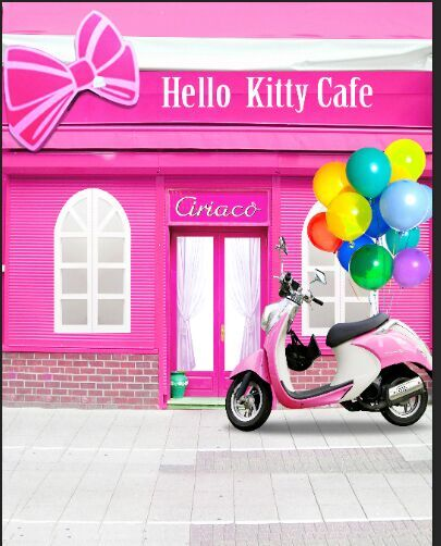 8x8FT Розовый Hello Kitty Кафе Кофе Шоп Париж Воздушные Шары Скутер Пользовательские Фотография Фон Студия Фон Винил 10x10 8x12