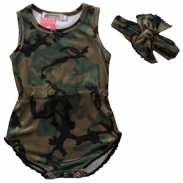 f4ecf21bcff Newborn Kids Baby Girl Clothing Army Green Romper Jumpsuit Sleeveless  Fashion Playsuit Cute Headband Clothes Baby Girls Outfit