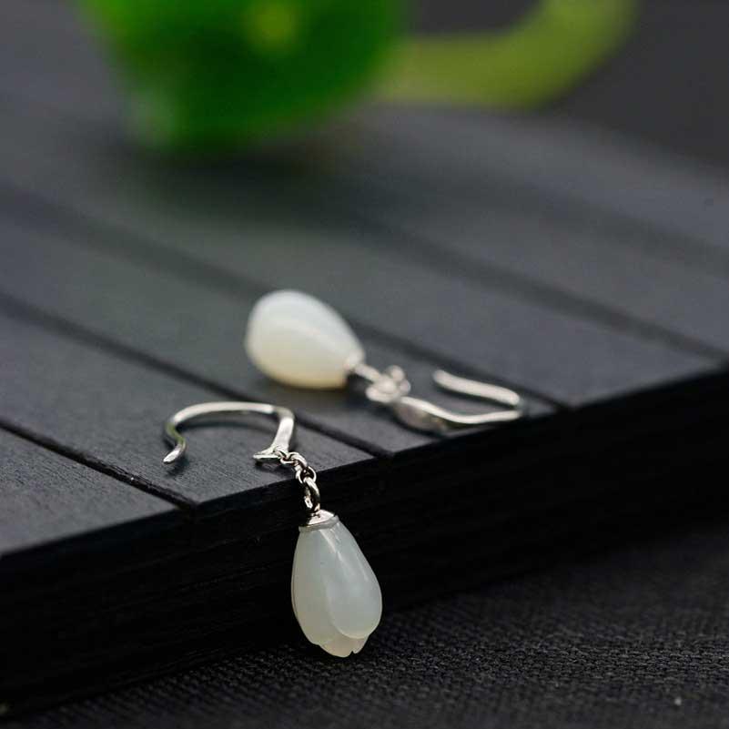 FNJ 925 серебряные серьги для Для женщин Jewelry новые изящные Хотан Нефритовый Цветок лотоса 100% чистый оригинальный S925 стерлингового серебра сер...