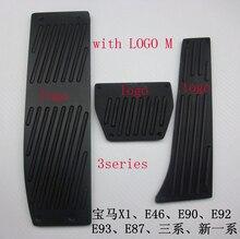Negro Color 3 Unids AT Pie Del Freno Del Resto Pedales para BMW 3 Series 1998-2011 E46 E90 E92 E93 con Logotipo de la M
