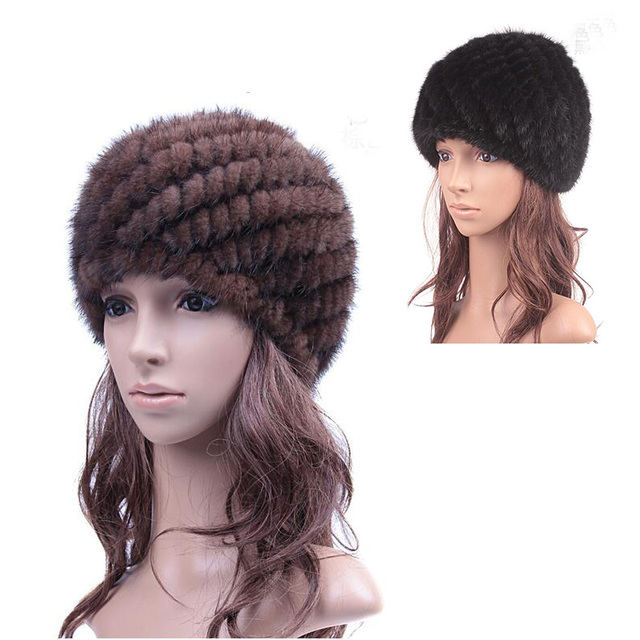 Women Winter Natural Real Fur Hats Cap Real Mink Fur Knitted Caps Pineapple Hat Mink Fur Hat