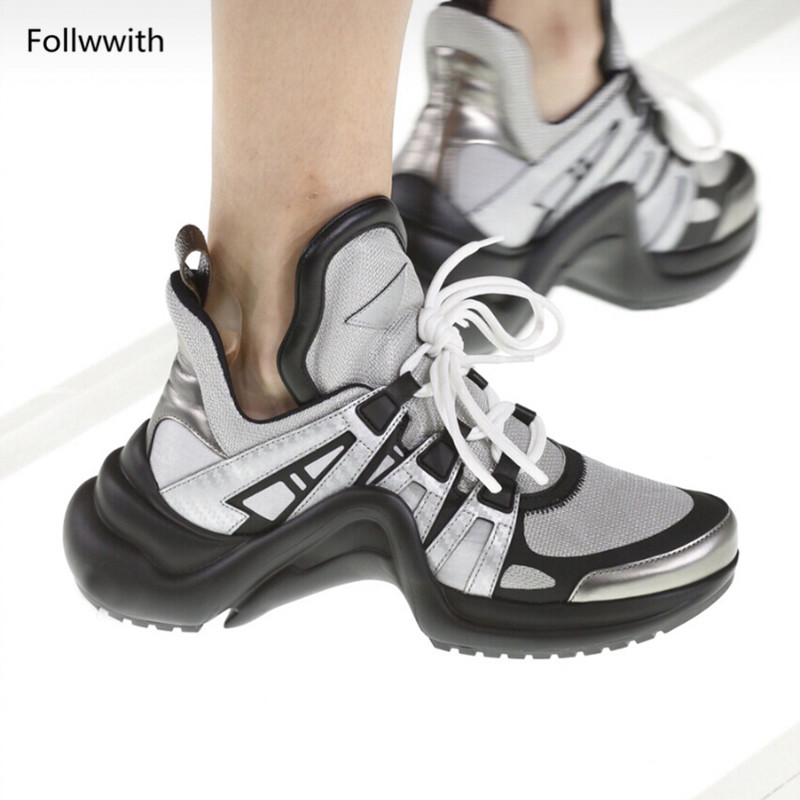 Encaje Zapatos As Zapatillas Entrenadores Follwwith Archlight Cuero as Mixde 2018 Casual Malla Pic Mujeres Plataformas Marca Real Pic Colores Mujer pqqzSw