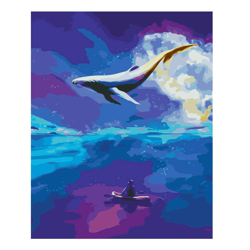 Diy Picture By Numbers,Flying Whale,Coloring Numbers,Animal Paint Number