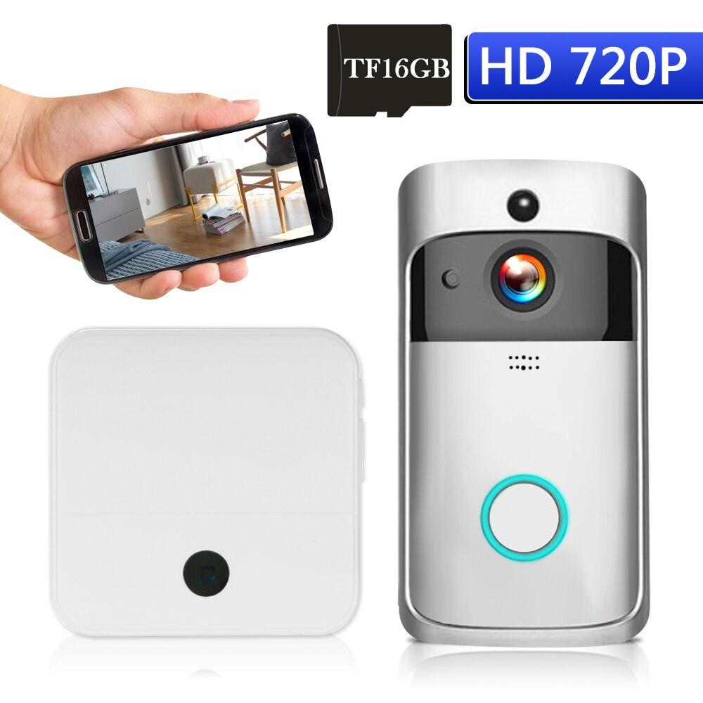 WiFi Smart Wireless Security DoorBell 720P Visual Intercom Recording Video Door Night Vision Built in 16G