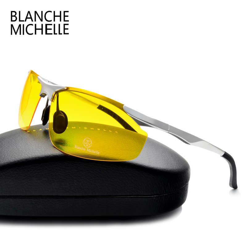 127315333f95 2018 Алюминий магния солнцезащитные очки Для мужчин поляризационные UV400  вождения Ночное видение очки спортивные солнцезащитные очки