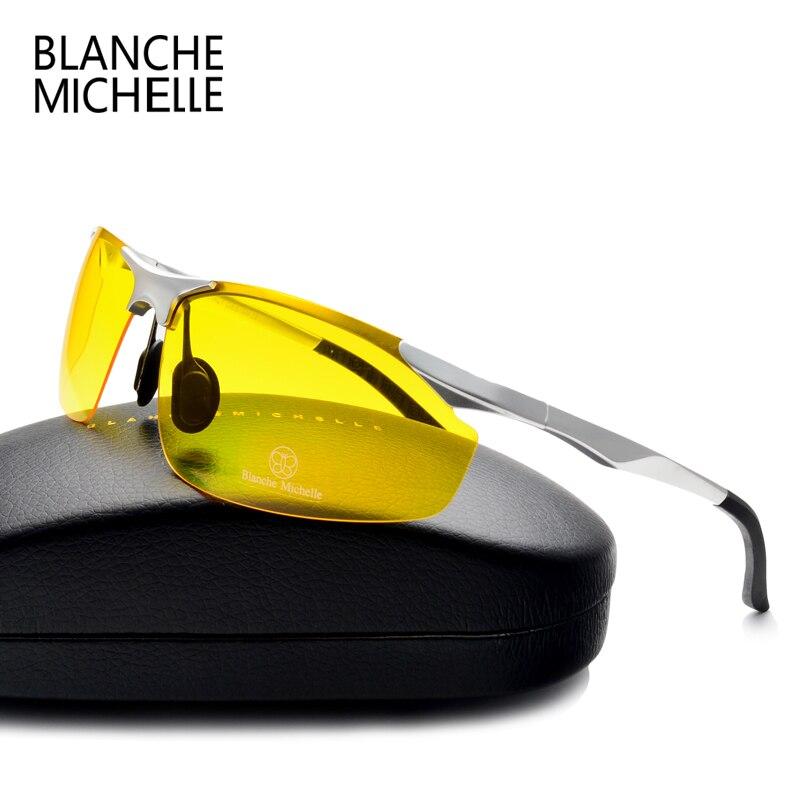 Aluminum Magnesium mens driving night vision vintage Polarized sunglasses men sport mirror sun glasses 2017 Yellow lens goggles