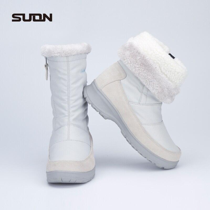 Women winter outdoor walking shoes ladies genuine leather waterproof fabric snow walking boots Women trekking boots for-45C