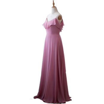 Candy Color V-Neck Spaghetti Straps Floor Length A-Line Chiffon Pleated Bridesmaid Dresses Chiffon Court Train Bridesmaid Gowns фото