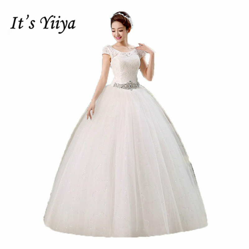 It's Yiiya 2017 O-neck Lace Short Sleeves Sequins Waist Wedding Dresses White Cheap Floor Length Dress Vestidos De Novia HS138