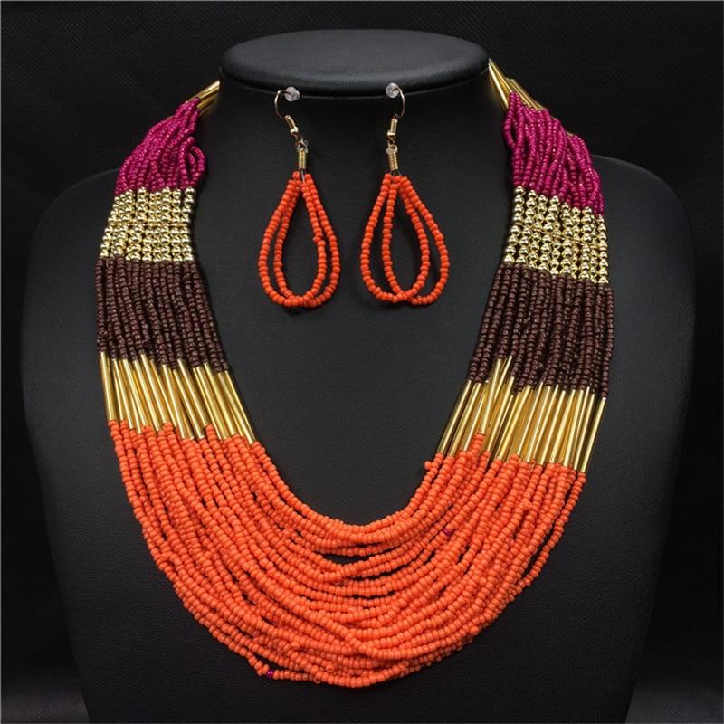 Boho Böhmische Ethnische Schmuck Sets Lange Multi Layer Strang Perlen Ohrringe Afrikanische Perlen Halskette Set Frauen Collier Ethnique