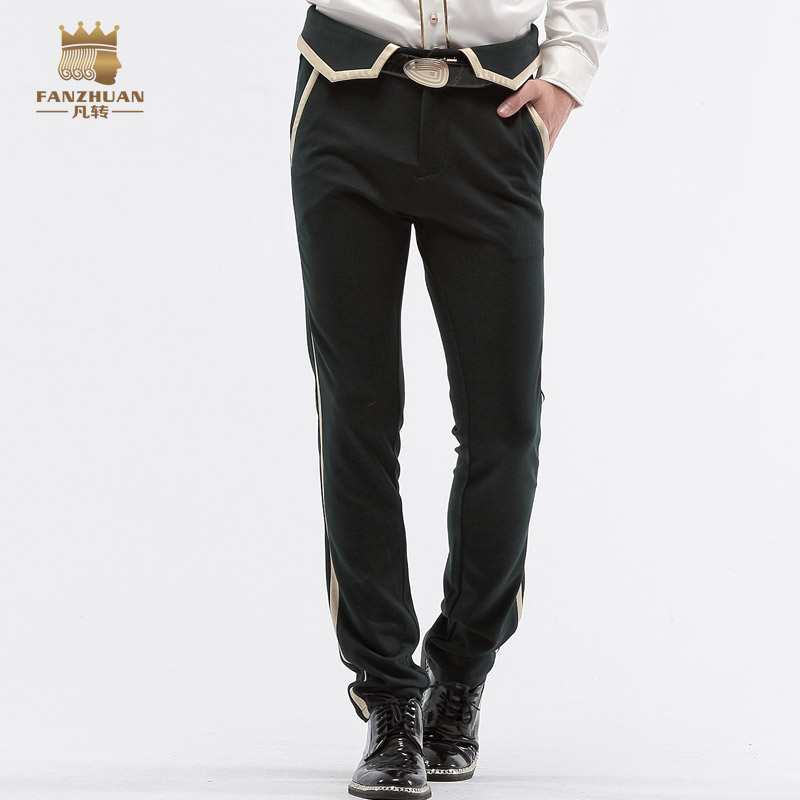 Free Shipping New fashion male autumn trousers men s casual spring Autumn Wedding customized slim black