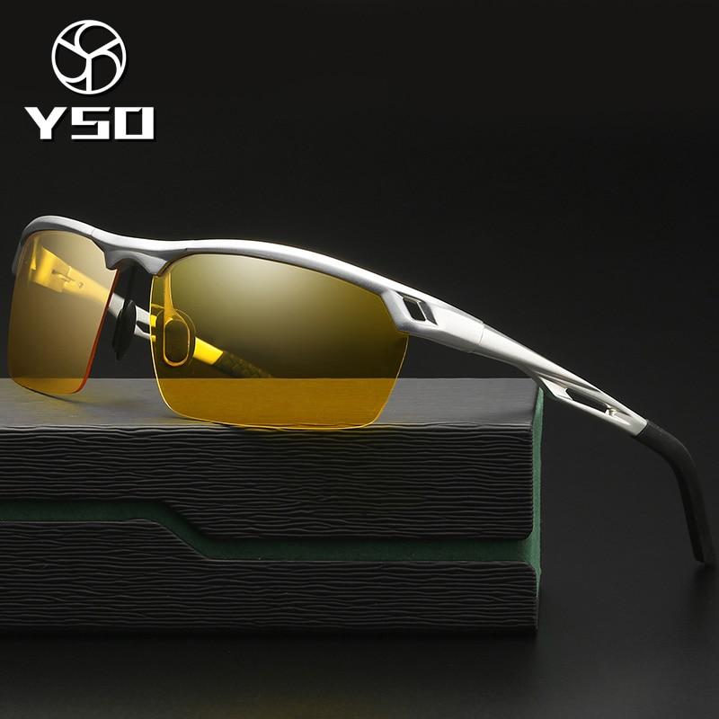 YSO Anti Glare Night Vision Glasses For Men Aluminium Magnesium Frame Polarized Yellow Night Vision Goggles For Car Driving 8550