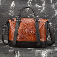 5496f9a5ed4 Hoge Kwaliteit Vrouwen Echt Lederen Schoudertas Messenger Top Handvat Tassen  Vintage Reliëf Roos Patroon Dames Handtassen