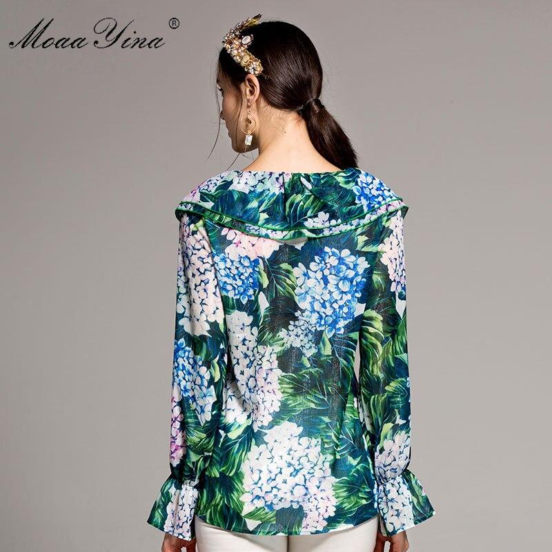 De Floral Verano Moaayina Rizado Diseñador Collar Tops Runway Hojas Manga Mujeres Impresión Camisa Casual Ruffles Verde Moda Larga 8IIqx67