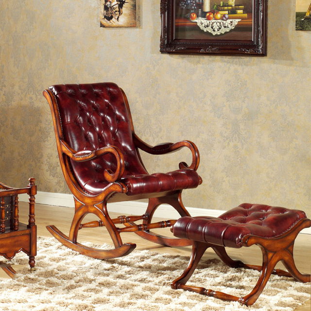 Continental Furniture Solid Wood Rocking Chair Balcony Recliner Sofa Rocking  Elderly Household Head Layer Leather Happy