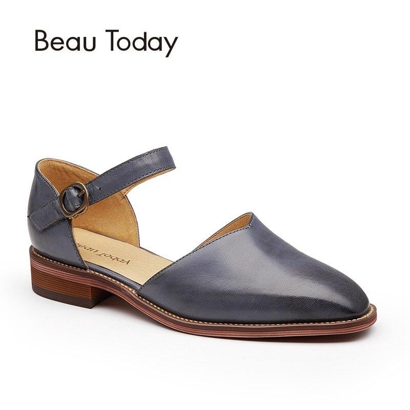 BeauToday Frauen Sandalen Aus Echtem Leder Karree Schnalle Schaffell Marke Abdeckung Ferse Schuhe Handgemachte 30013-in Flache Absätze aus Schuhe bei  Gruppe 3