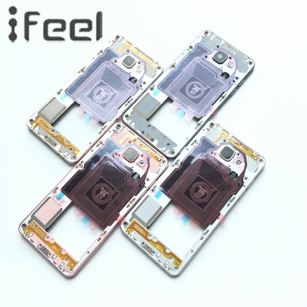 For Samsung Galaxy A5 2016 SM-A510F A510 A510F A510M Middle Plate Frame Bezel Housing+Side Button+Camera Glass Lens(China)