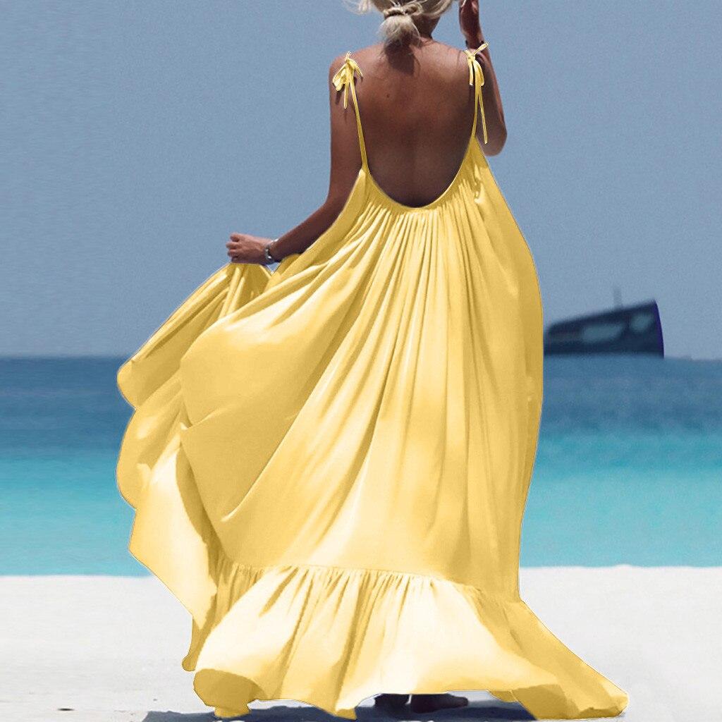Boho Maxi Dress Women Spaghetti Strap Backless Long Dress 2019 Sexy Summer Party Bohemian Beach Dresses Vestidos Robe Femme