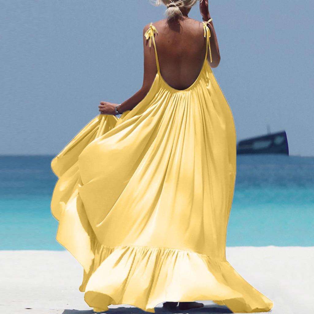 Boho Maxi Kleid Frauen Spaghetti Strap Backless Lange Kleid 2019 Sexy Sommer Partei Böhmischen Strand Kleider Vestidos Robe Femme