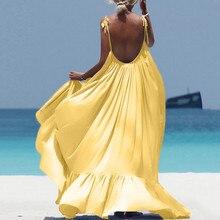Boho Maxi Dress Women Spaghetti Strap Backless Long Summer Dress 2020 Sexy Party Bohemian Beach Dres