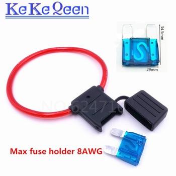 цена на 1PCS Inline Auto Blade Fuse Holder 8AWG Fuse Holder MAXI Fuse Holder With 26cm Wire Plastic Cover with 60A MAXI FUSE